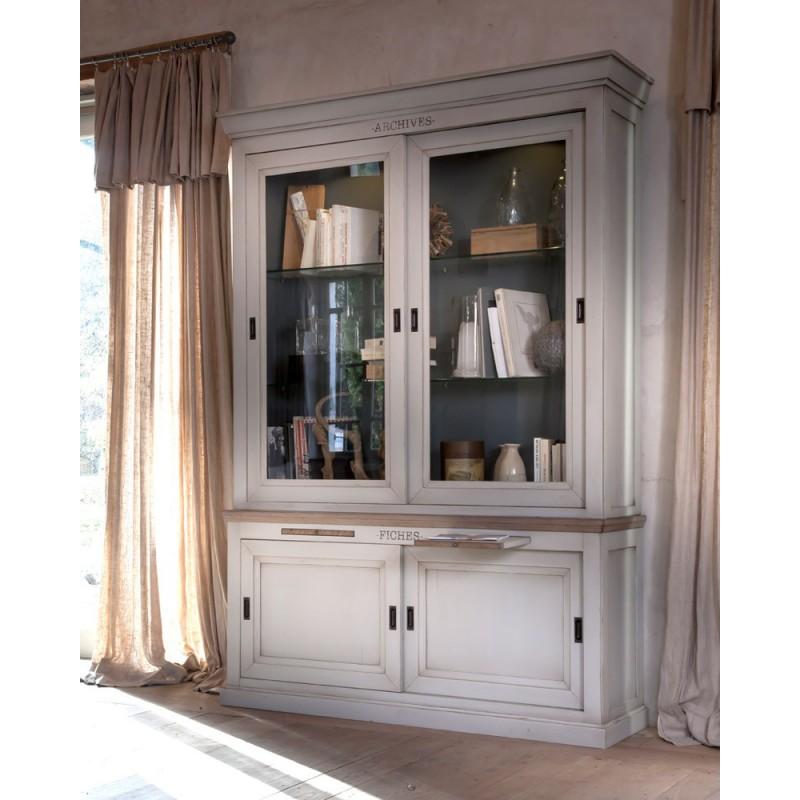Biblioth que 2 portes coulissantes b rang re meubles for Leclerc meubles basse goulaine