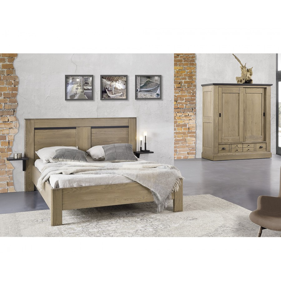 lit ch ne massif romance meubles leclerc. Black Bedroom Furniture Sets. Home Design Ideas