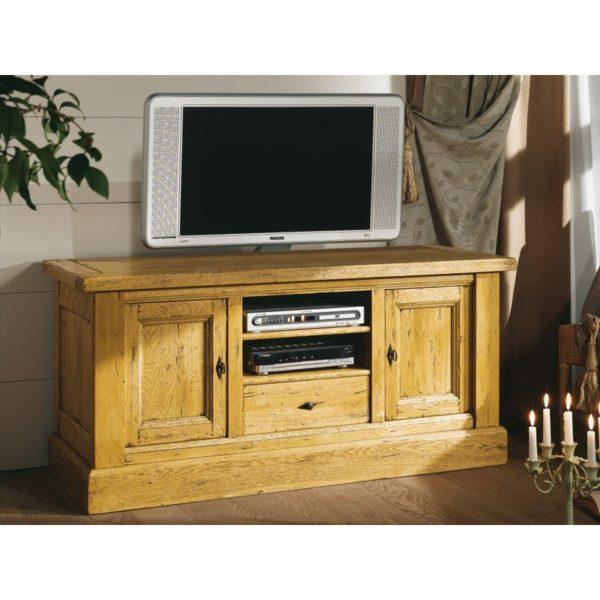 Meuble tv bas 2 portes en ch ne massif nogent meubles leclerc - Meuble brocante en ligne ...