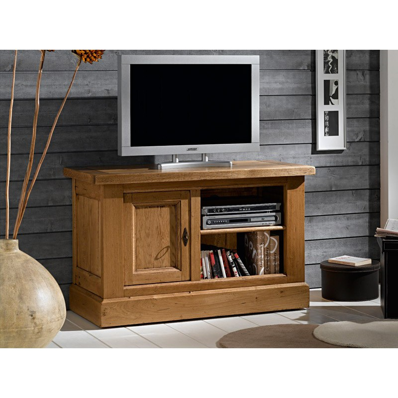 meuble tv bas 1 porte en ch ne massif nogent meubles leclerc. Black Bedroom Furniture Sets. Home Design Ideas
