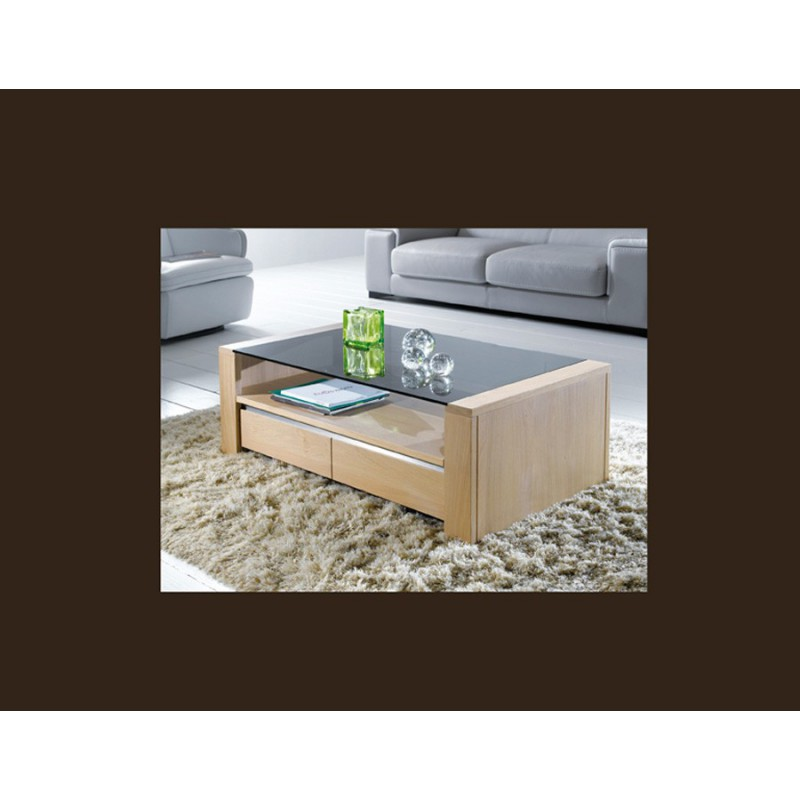 Table basse rectangulaire ch ne massif yucca meubles for Meuble yucca