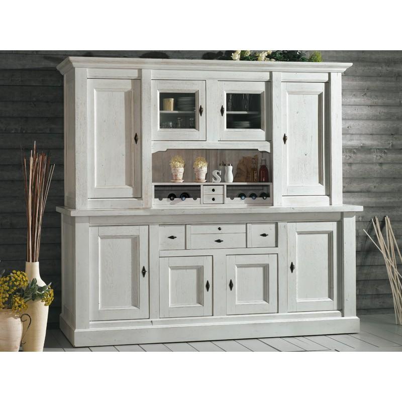 Vaisselier blanc 4 portes chêne massif - Nogent