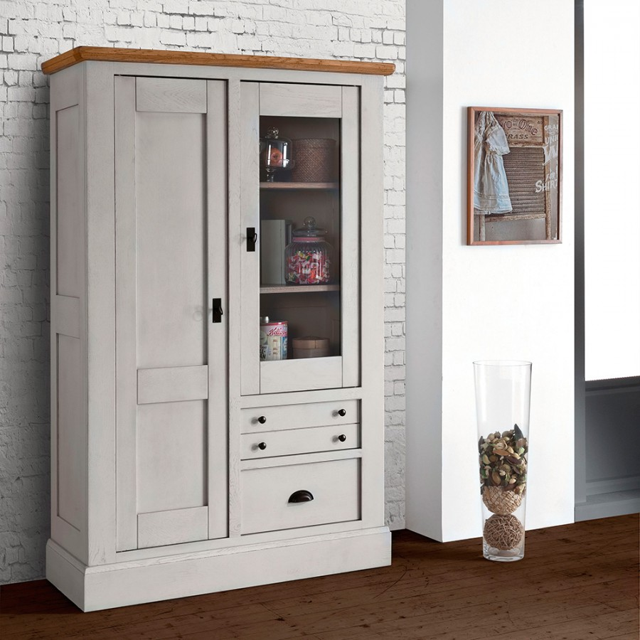 vitrine 1 porte romance meubles leclerc. Black Bedroom Furniture Sets. Home Design Ideas