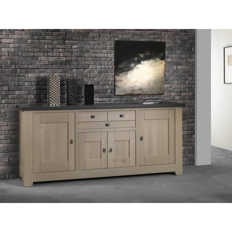enfilade basse 4 portes ch ne massif whitney meubles leclerc. Black Bedroom Furniture Sets. Home Design Ideas
