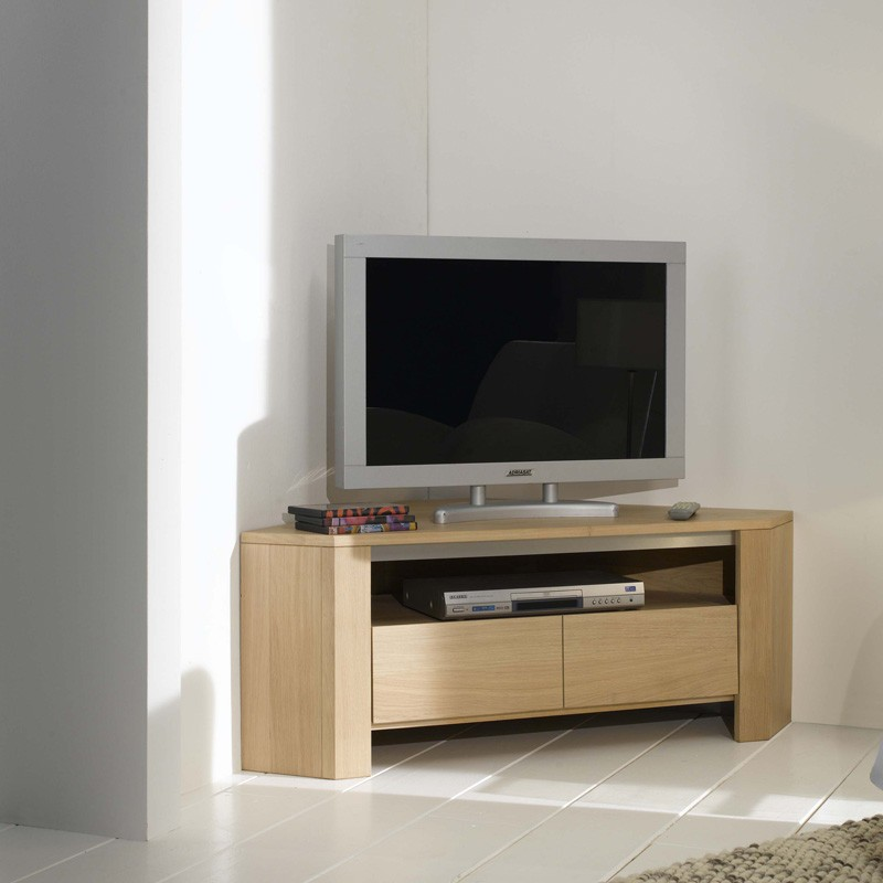 meuble tv d 39 angle ch ne massif yucca meubles leclerc. Black Bedroom Furniture Sets. Home Design Ideas