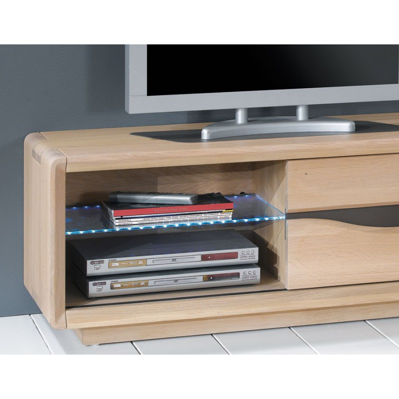 Petit meuble tv en ch ne massif ceram meubles leclerc for Petit meuble tv