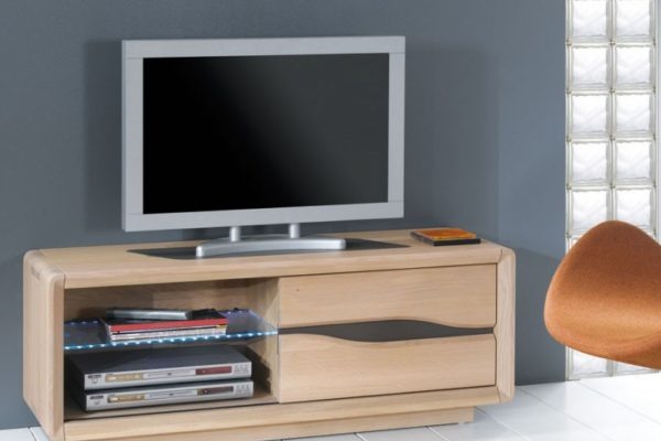 Petit meuble tv en ch ne massif ceram - Meuble pour petite entree ...