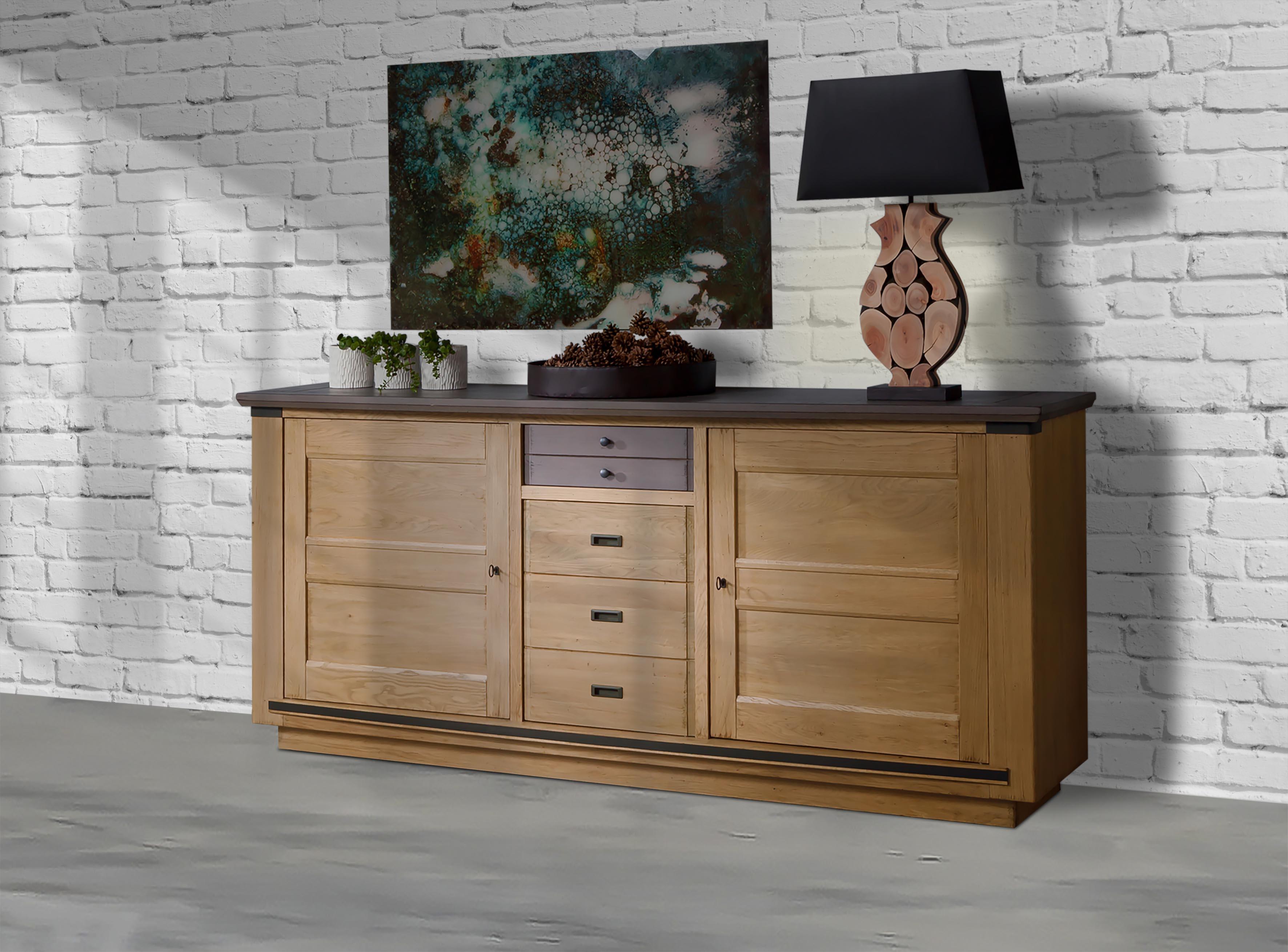 Enfilade 3 portes 1 tiroir 228 cm magellan meubles leclerc for Meuble salle a manger leclerc